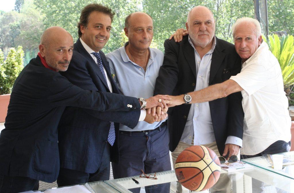 G. Pizzoni, Presidente Nuova Lazio Pallacanestro Riano;S. Santi, Presidente S.S. Lazio Basket; A. Buccioni, Presidente Polisportiva Lazio; E. Bocci, Nuova Lazio Pallacanestro Riano; A. Santi, Basket Parco di Veio;
